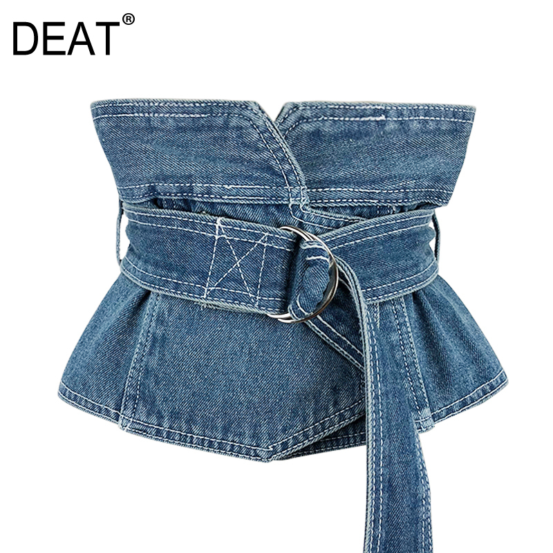 [DEAT] 2020 New Arrival Four Seasons New Lady Fashion Simple Denim Sashes Vintage Patchwork All-match Accessorise Belt KB671