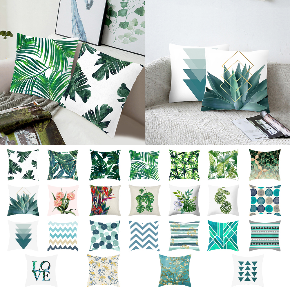 1pc Green Leaves Printing Pattern Pillowcase Cover Tropical Plants Pillow Cover Polyester Pillow Case Cushion 45x45m