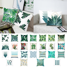 1pc Green Leaves Printing Pattern Pillowcase Cover Tropical Plants Pillow Polyester Case Cushion 45x45m