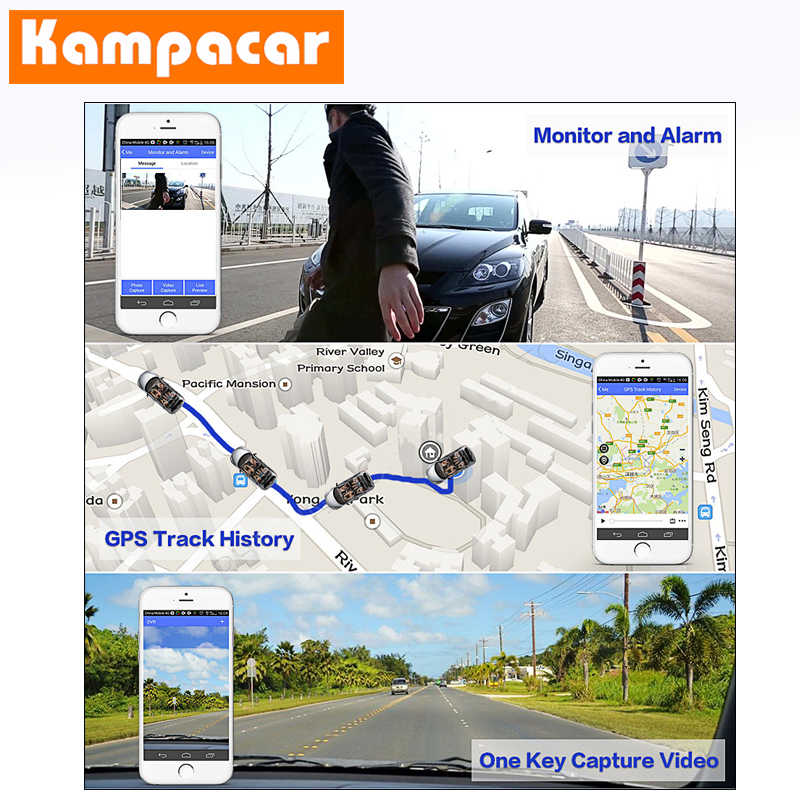 "Kampacar 4G Smart Kaca 8 ""Car Dash Camera DVR dengan Dua Kamera Dashcam WIFI GPS Navigator Android bluetooth Mobil DVR"