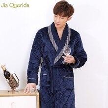 Халат Для мужчин зимняя одежда для сна из плотного бархатного флиса домашняя одежда Теплый 3 Слои бархат кимоно Королевского синего цвета размера плюс халат в китайском стиле