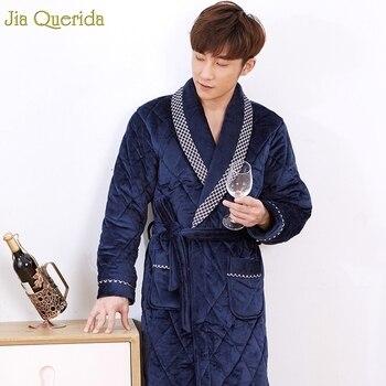 Bathrobe Men Winter Sleeping Wear Velvet Fleece Thick Home Clothing Warm 3 Layer Velvet Kimono Royal Blue Plus Size Chinese Robe