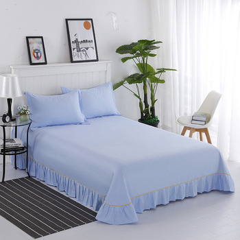 New Super Soft Cotton Solid Color Lace Sheets Hotel Simple Thick 2 Meters Bed Linen Special Offer
