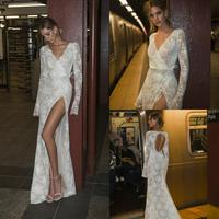 2020 Lace Mermaid Wedding Dresses Long Sleeves V Neck Thigh High Slit Feather Sash Wedding Gowns Illusion Sexy Bridal Dress