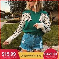 Glamaker, повседневный теплый пуловер с животным принтом, женская уличная одежда, свитер с длинным рукавом, вязаный джемпер, осенне-зимний Рожде...