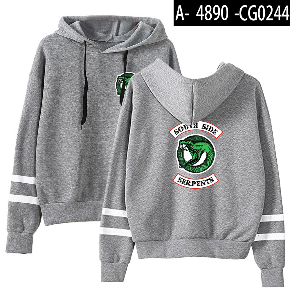 Riverdale Southside Serpents Hoodies Sweatshirts MenS Women South Side Serpents Hoodie Long Sleeve Striped Pullover Top Oversize 12