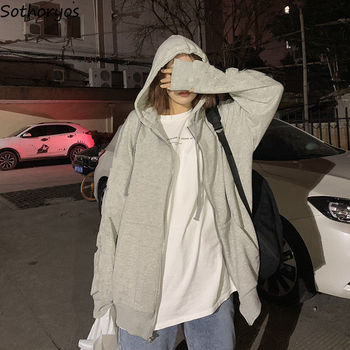 Jackets Women Solid Simple Drawstring Pleated Hooded Loose Leisure Korean Style Sun-proof Fashionable BF All-match Students New