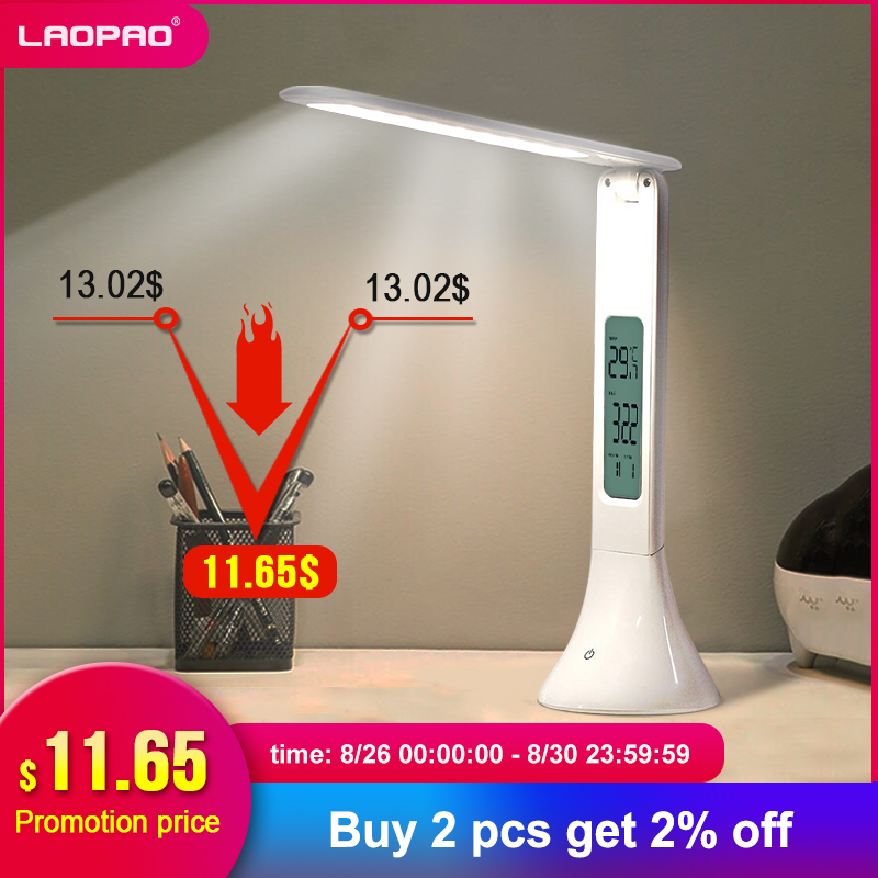 LAOPAO Desk-Lamp Alarm-Clock Calendar Table-Light Temperature Dimmable-Touch Foldable