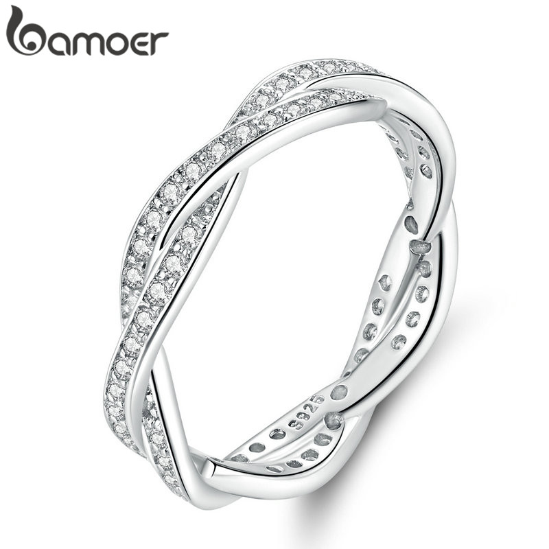 Bamoer Stackable RING Crown LEAVES PAVE Queen Anniversary-Sale Princess 8-Style BRAIDED
