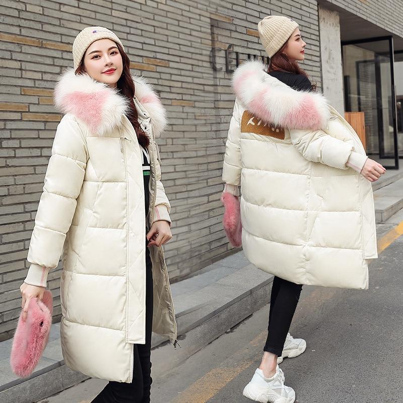 QIHUANG Women Winter   Down     Coat   Hooded Fur Collar thicken Long White Parka Jacket 2019 Fashion Warm Women's   Coat
