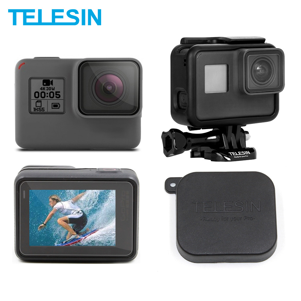 TELESIN 3Pcs HD LCD Screen Lens Protectors Film + Lens Cap + Frame Housing Case Mount Set For GoPro Hero 5 Hero 6 7 Accessories