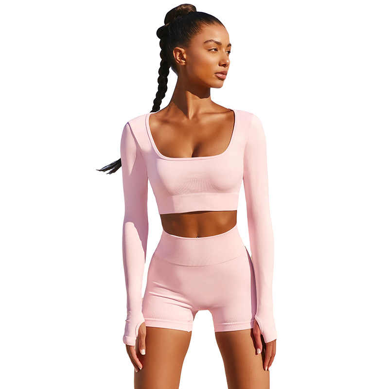 Estate vestiti di Yoga Set Donne Due 2 Pezzi Rosa A Maniche Lunghe T-Shirt Crop Top Shorts Sexy Sportsuit Allenamento Vestito Palestra Sport set
