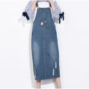 Image 2 - Faldas de talla grande de tela vaquera rasgada para mujer, faldas con tirantes, ropa de calle de talla grande 4Xl 5Xl, Falda vaquera con tirantes