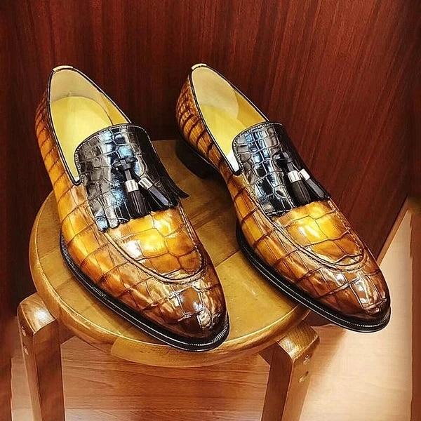 Men PU Leather Fashion Shoes Low Heel Fringe Shoes Dress Shoes Brogue Shoes Spring Ankle Boots Vintage Classic Male Casual LP473