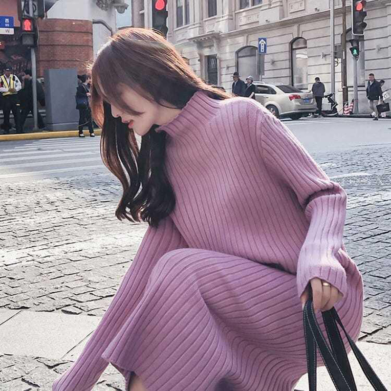 2019 Big Sizes Long Loose Sweater Knitting Winter Maxi Skater Fashion Autumn Dress Women Clothes Dresses Female For Harajuku