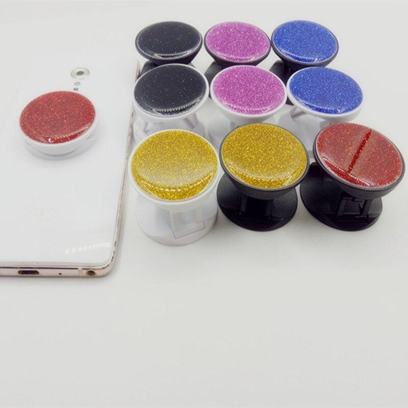 50pcs Glitter Epoxy Glue Round Pocket Mobile Phone Folding Stretch Bracket Phone Holder