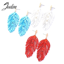 Joolim Red White Blue Resin Leaf Drop Earring Dangle
