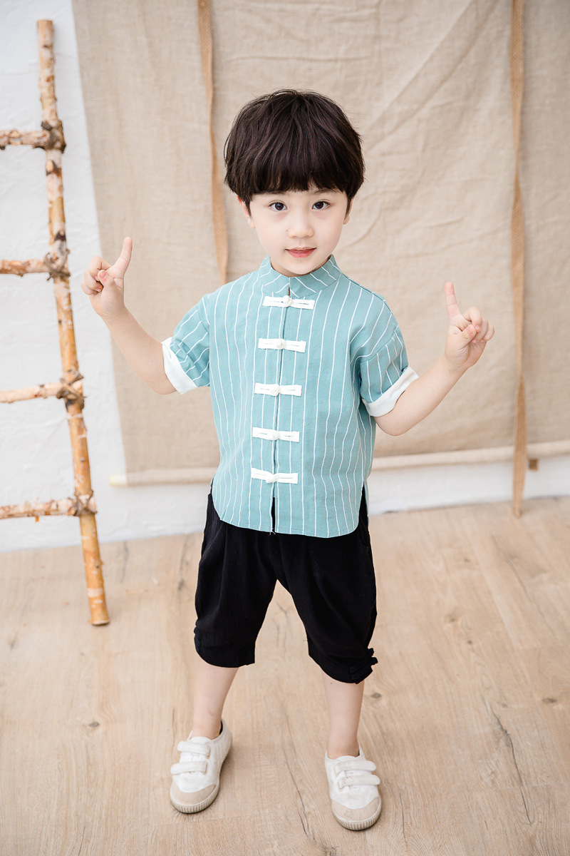 BOY'S Chinese Clothing Set 2019 Summer New Style Childrenswear Children Male Baby Cotton Linen Chinese Style Chinese Costume Shi