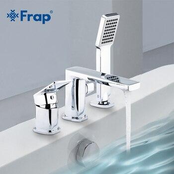 Frap трехкомпонентный смеситель для ванной комнаты, душевой кран для ванной комнаты, набор для душа, водопад, кран для раковины, смеситель для ...