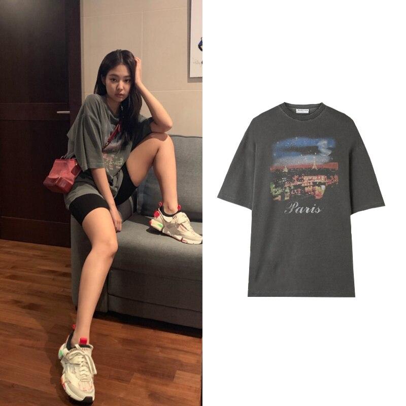 Kpop Blackpink JENNIE Same Korean New Fashion T Shirt Female Summer Girls Short Sleeve O-Neck Cotton Women Top Slim Wild Tshirt