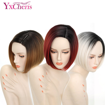 цена на Ombre Blonde Wigs For Women Synthetic Short Hair Red Wigs Female  Heat Resistant Fiber Pixie Cut Short Wig Cosplay Peruca