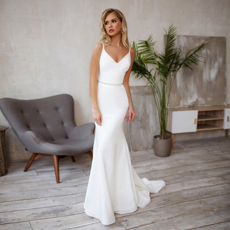 Verngo Mermaid Wedding Dress Simple Stain Wedding Gowns Elegant Backless Bride Dresses Vestidos De Noiva Wedding Dresses Aliexpress