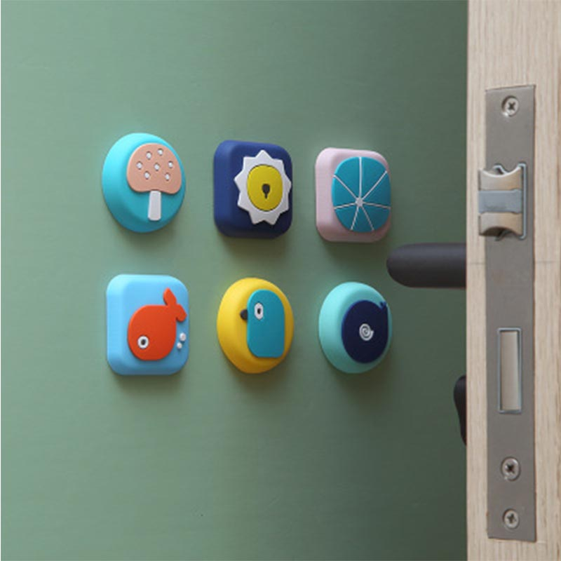 Baby Safety Door Protection Tools Kids Protection Cartoon Shock Absorbers Security Card Room Wall Protectors Door Handle Bumpers