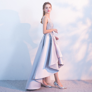 Image 3 - Liquidação banquete elegante cinza cetim vestido de noite alta/baixo curto frente longa volta rendas apliques formal festa vestido