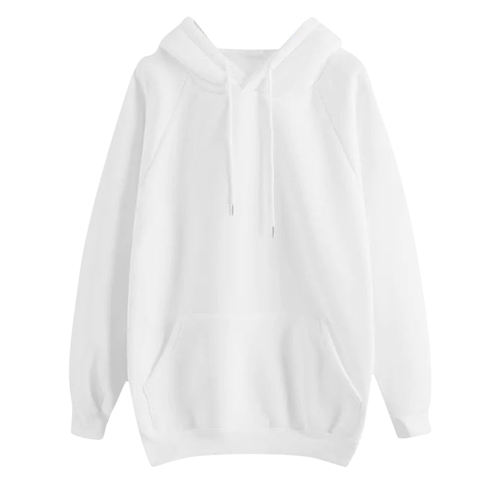 Women's Casual Solid Color Sweatshirt Hooded Pocket Long Sleeve Pullover Chaqueta Mujer#Z30
