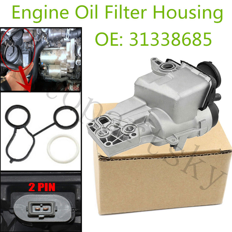 New Engine Oil Filter Housing 31338685 for Volvo C70 S40 V50 2004-2014 OE <font><b>30788494</b></font> 31338684 22955-91400 2295591400 30684381 image