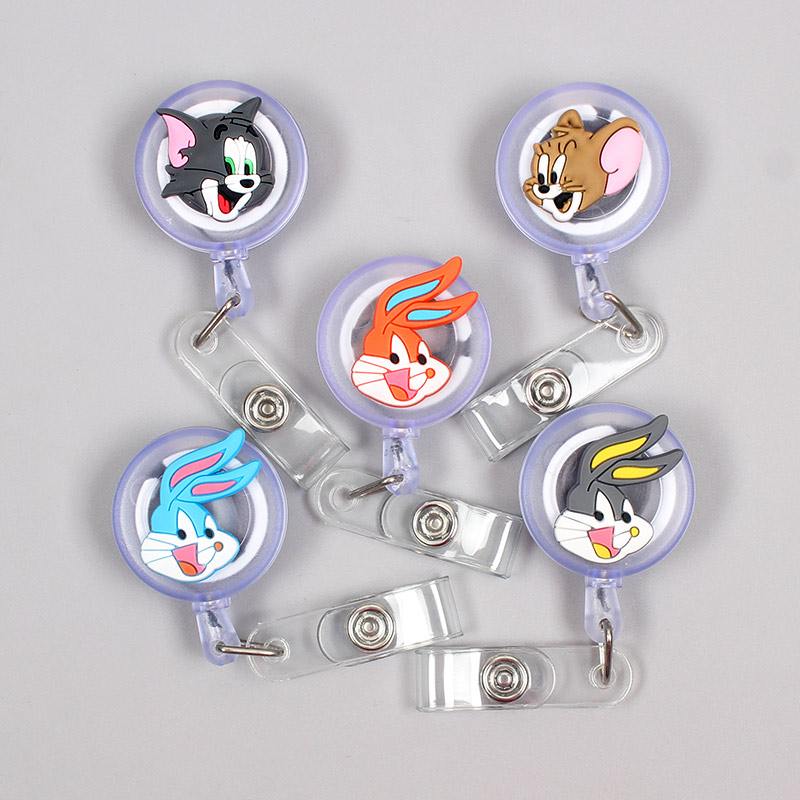 Cartoon Mouse & Cat Cute Rabbit Clown Retractable Card Holder Badge Reel Nurse Exhibition Enfermera Girl Name Card Chest Captain