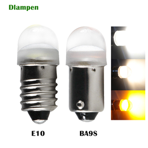 Bombilla led E10 t4w 233 ba9s Dc 6v 12v 24 v 6,3 V luces interiores para automóvil luz de lectura de puerta de matrícula de coche blanco amarillo 6 12 24 voltios