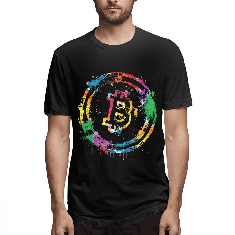 Cool Men T Shirts Colorful Bitcoin Colors Tee Shirt 3D Print Graphic T-Shirt Pure Cotton XS-3XL Plus Size Tshirt