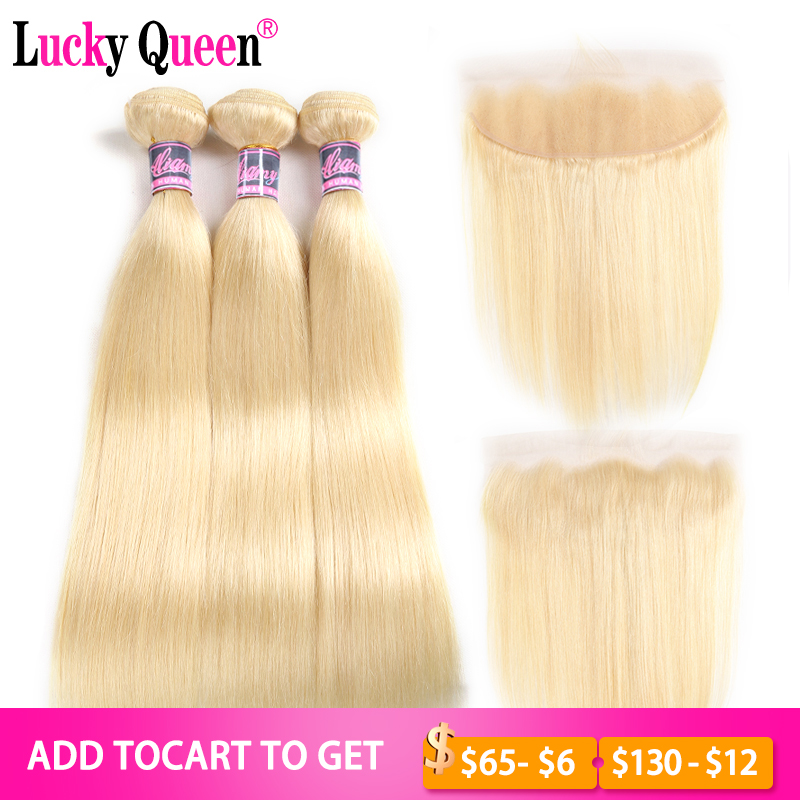 Brazilian 613 Blonde Color Straight Hair 3 Bundles With 13*4 Frontal Remy Hair 100% 613 Human Hair Bundles Lucky Queen Hair