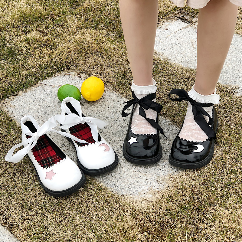 Japan Harajuku Moon & Star Lolita Cosplay  Leather Shoes