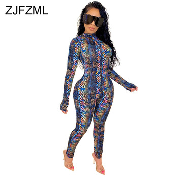 Snake Skin Print Rompers Womens Jumpsuit Sexy Mock Neck Long Sleeve Fitness Bodysuit Casual Zipper Up Bodycon One Piece Overall snake skin print strapless bodysuit