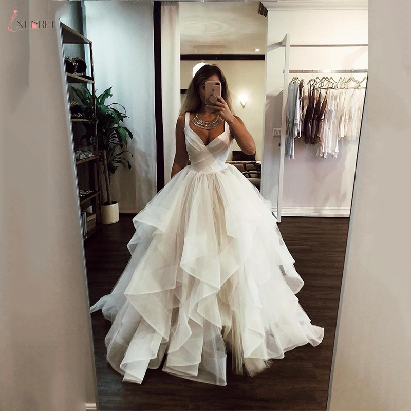 2020 New A Line Wedding Dresses Ruffles White Ivory Princess Wedding Gowns Vestidos De Noiva Bride Bridal Gowns Custom Make