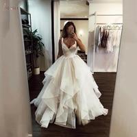2020 New A Line Wedding Dresses Ruffles White Ivory Princess Wedding Gowns Vestidos De Noiva Bride Bridal Gowns Custom Make