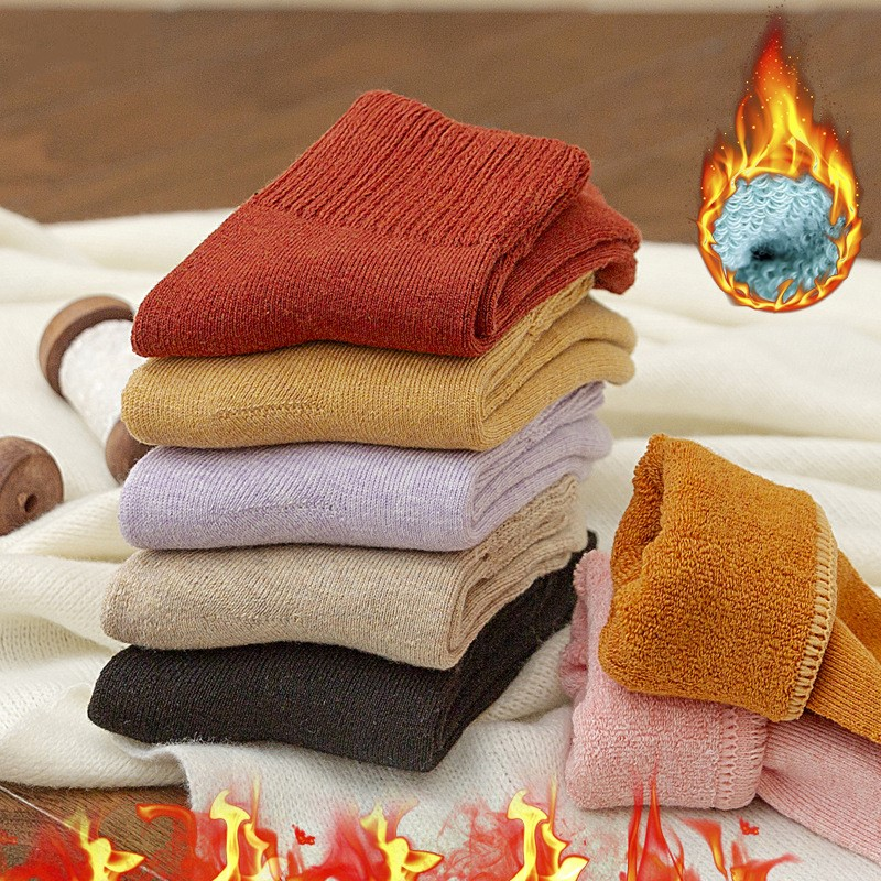 1pair Thick Warm Wool Terry Towel Women Sock Colorful Socks Gift Free Size Cute Sokken  New Winter Vintage Christmas Soild Socks