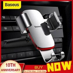 Baseus 重力自動車電話ホルダーの車の cd スロットエアベントマウント電話ホルダー iphone 用スタンド × 三星金属携帯電話ホルダー