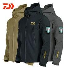 Daiwa-chaquetas de pesca para hombre, ropa de pesca de lana gruesa cálida con cremallera, camisa de pesca, prendas de vestir exteriores, ropa Daiwa para pesca de invierno