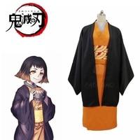 2019 Anime! Demon Slayer Kimetsu no Yaiba Susamaru Kimono Uniform Cosplay Costume Halloween Suit Custom made Any Size