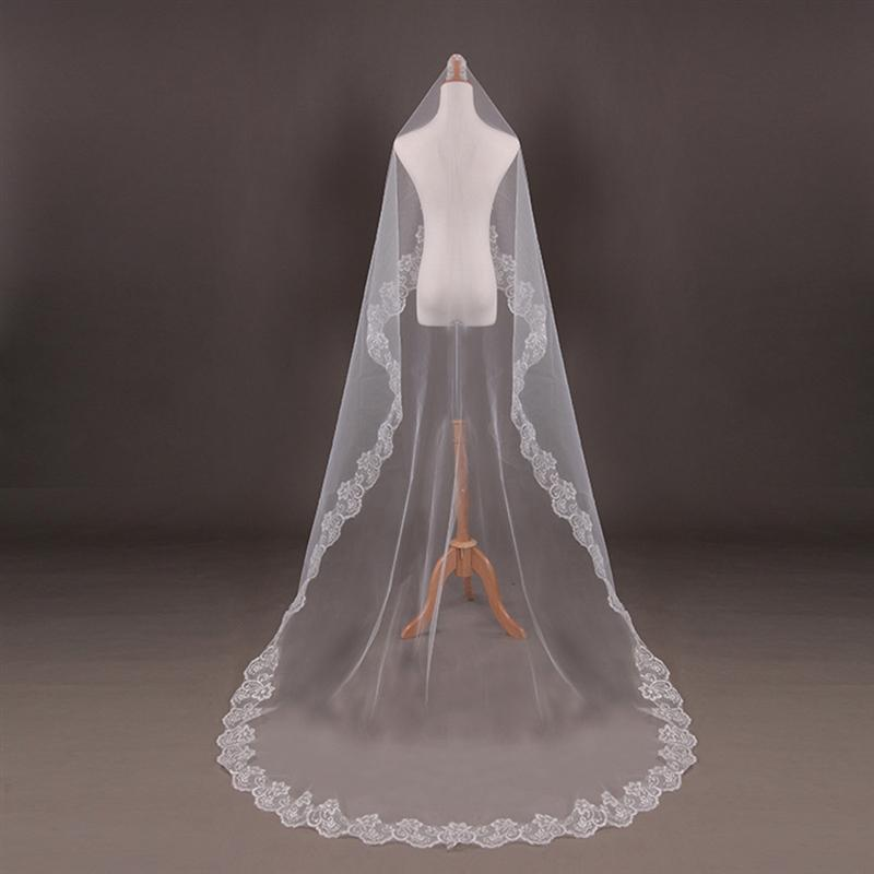 Lace Bride Wedding Veil Long White Wedding Gauze Sequins Lace White Dress For Wedding Marriage Accessories