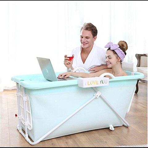 Tambor de Banho Banheira de Isolamento Banheira de Grandes Dimensões com Tampa Adulto Banheira Dobrável Corpo Inteiro Imersão Plástico Casa