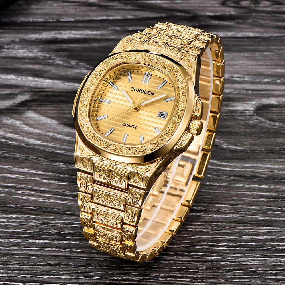 ยี่ห้อผู้ชายนาฬิกาบรอนซ์เหล็ก VINTAGE CLASSIC QUARTZ กันน้ำกีฬาทหารนาฬิกาข้อมือ Zegarek Meski Erkek Kol Saati