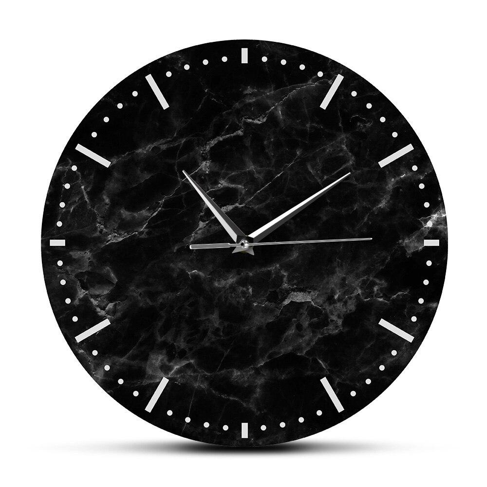 Minimalist Black Marble Wall Clock Black Marble Print Silent Wall Clock For Living Room Decor Modern Abstract Wall Art Watch