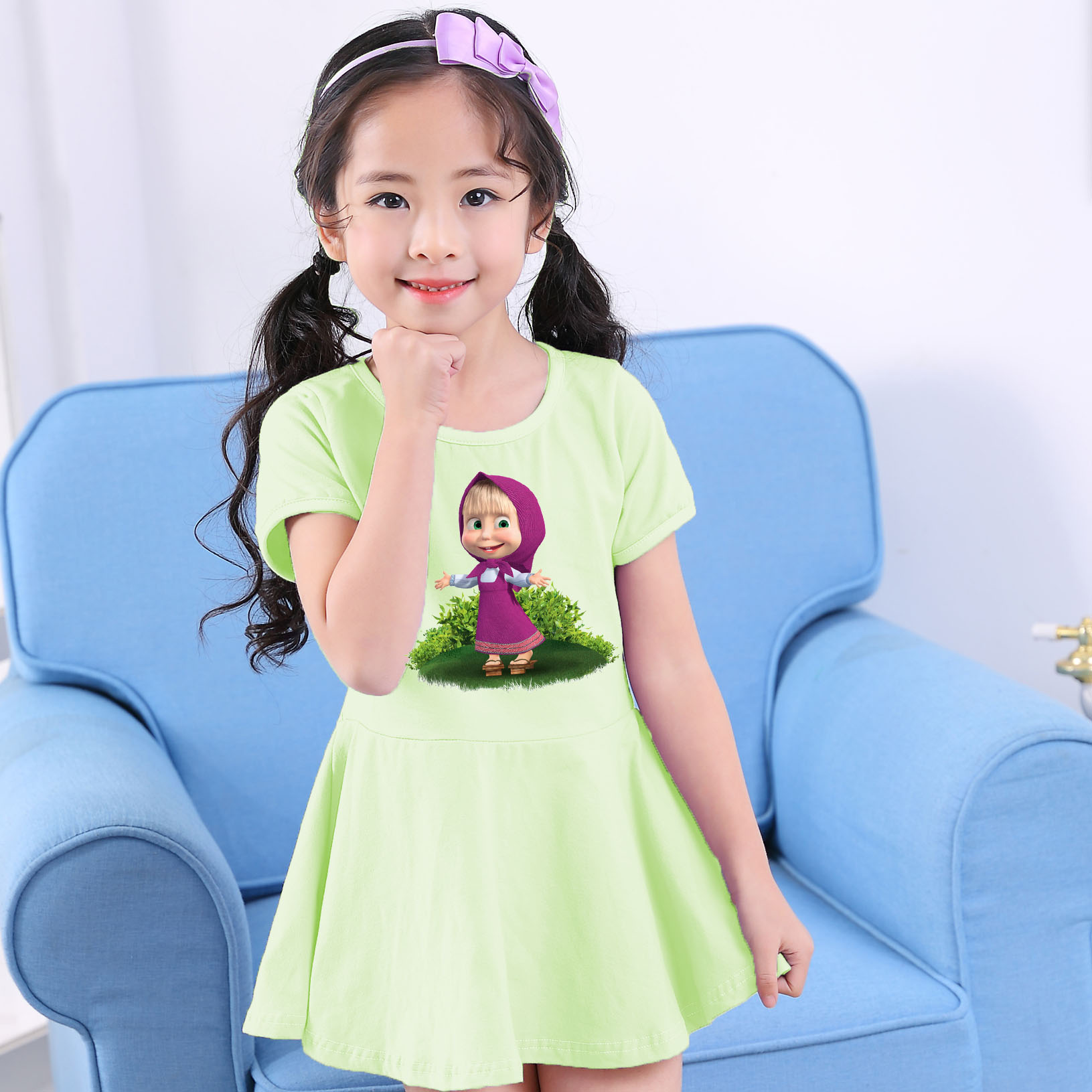Girls Party Dress Children Masha & Bear Cartoon Summer Cute Round Neck Short Sleeve Dress Baby Girls kids Clothes dress for girl