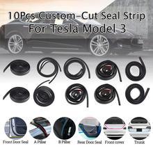 10Pcs Front /Rear Door Truck AB Pillar Soundproof Rubber Weather Seal Strip Noise Reduction Door Seal Kit For Tesla Model 3