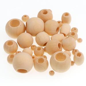 30-500 шт., 5-20 мм, круглые бусины с натуральным шариком DIY, деревянные шарики без свинца, свободный шар, бисер с большим отверстием, поставка