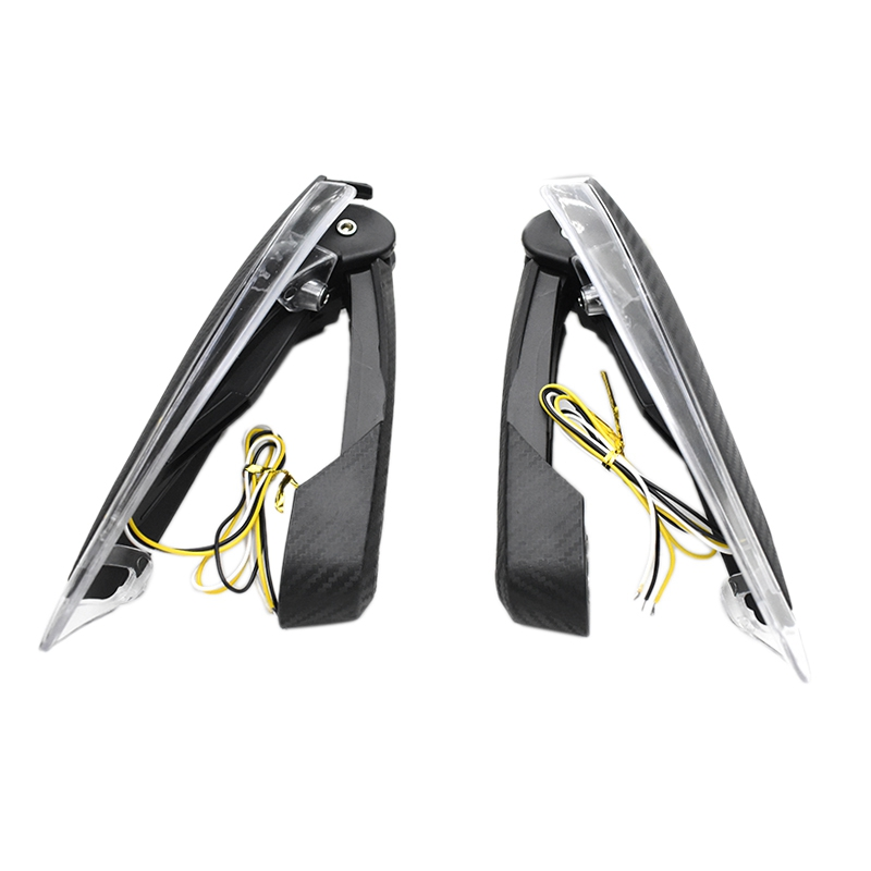1 Pair LED Motorcycle DRL Turn Signal Brush Handle Bar Handguards Wind Deflector